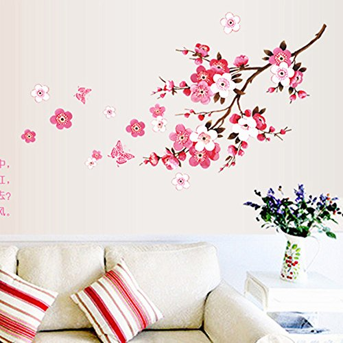Fencodi , Room Peach Blossom Flower Butterfly Wall Stickers Vinyl Art Decals Decor Mural