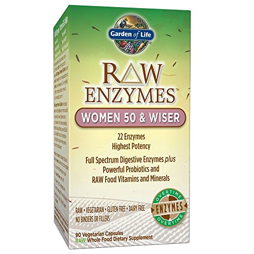 Garden of Life Vegetarian Digestive Supplement for Women – Raw Enzymes Women 50 & Wiser for Digestion, Bloating, Gas, and IBS, 90 Capsules