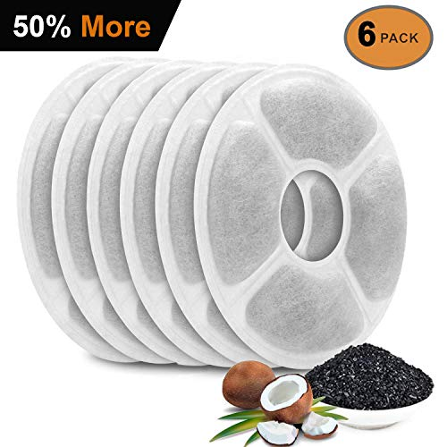 Flightbird Cat Water Fountain Filters for Cat Flower Fountain, 50% More Activated Carbon (Not for Catit Brand Water Fountain) Replacement Filters,Compatible with Cat Flower Water Dispenser (6Pack)