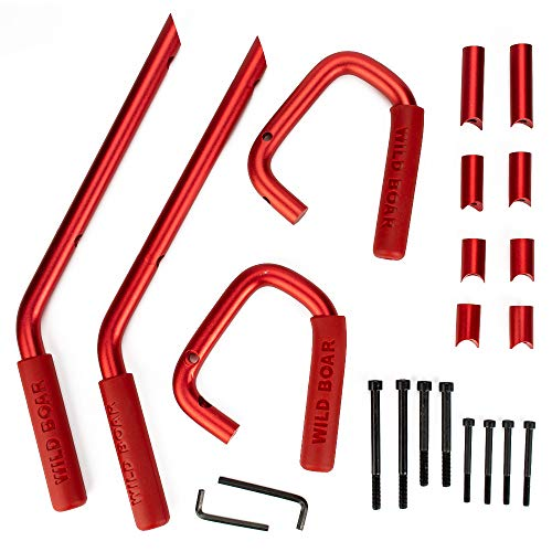 Front Grab Handles Grab Bar Rear Front Grab Black Safety Handle for Jeep Wrangler 07-17 (Red) ()
