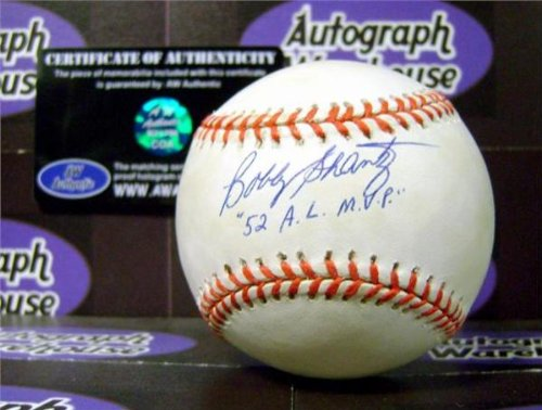 Bobby Shantz autographed Baseball inscribed 52 AL MVP (Yellow toned discount) (Bobby Shantz Autographed Baseball)