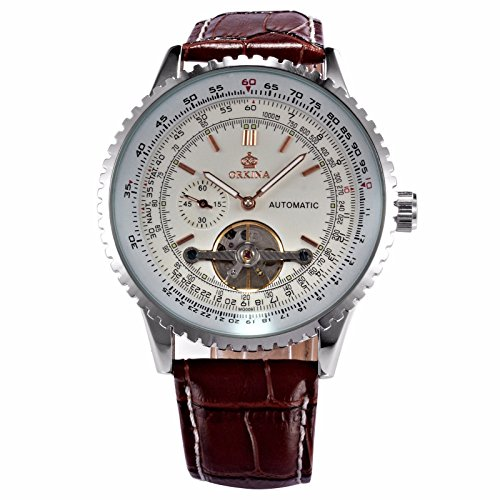 MIX & ROCK ORKINA Tourbillon Automatic Mechanical Steampunk Brown Leather Strap Dress Watch