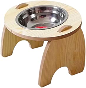 GREENWISH Raised Pet Bowls for Cats and Dogs Wood Elevated Dogs Cats Food and Water Bowls Stand Feeder with Steel Bowls for Small Dogs Pet Foot Dish Holder(Only for Small Dog)