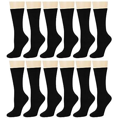 12 Pairs Women's Crew Socks (Black) 446-29-96002 at Women's Clothing store