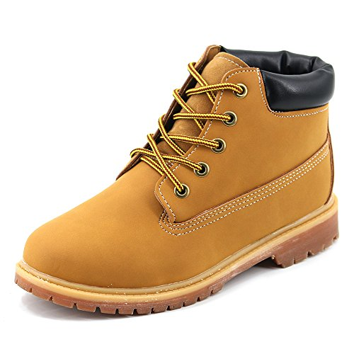 Cooga Women's Winter Lace Up Ankle Padded Collar Boots Warm Ladies Work Booties Camel 7 B(M) - Cheap Moccasin Boots