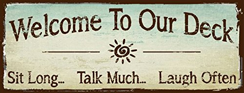 Cheap  Welcome to Our Deck Metal Sign, outdoor living, Rustic Decor