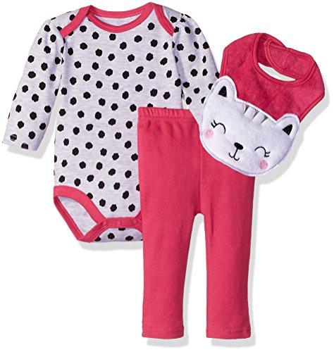 BON BEBE Baby Girls' 3 Piece Pant Set with Long Sleeve Lap Shoulder Bodysuit and 3D Bib, Sweet Grey Kitty, 0-3 Months