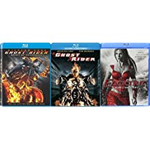 Marvel Collection Movie Pack Elektra + Ghost Rider Movie Series Blu Ray / Ghost Rider Sequel Spirit of Vengeance with Exclusive Features Documentary Triple Feature Super Hero Series