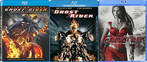 Marvel Collection Movie Pack Elektra + Ghost Rider Movie Series Blu Ray / Ghost Rider Sequel Spirit of Vengeance with Exclusive Features Documentary Triple Feature Super Hero Series (Ghost Rider Vs Ghost Rider Spirit Of Vengeance)