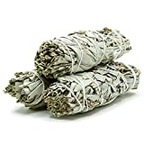 GloFX White Sage Bundle - 3 Pack - 4 Inches Sustainably Harvested California Smudge Stick Wand for Spiritual Incense Sticks Burning Aromatherapy Energy Cleansing Bundles Healing and Meditation