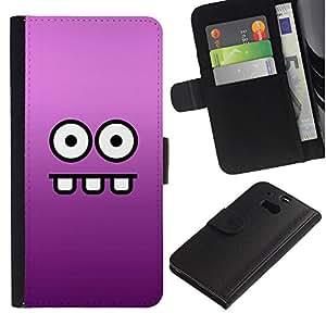 KingStore / Leather Etui en cuir / HTC One M8 / Ojos Cara divertida de la historieta púrpura