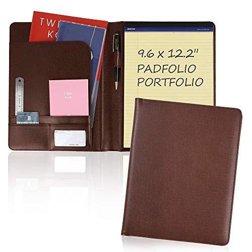 Report Pad Advanced Synthetic Leather Folder Handmade Pad Business Padfolio Notepad Portfolio 9.6 x 12.2 Size Memo Organizer Holder Simple Design Leather Binder (Brown)