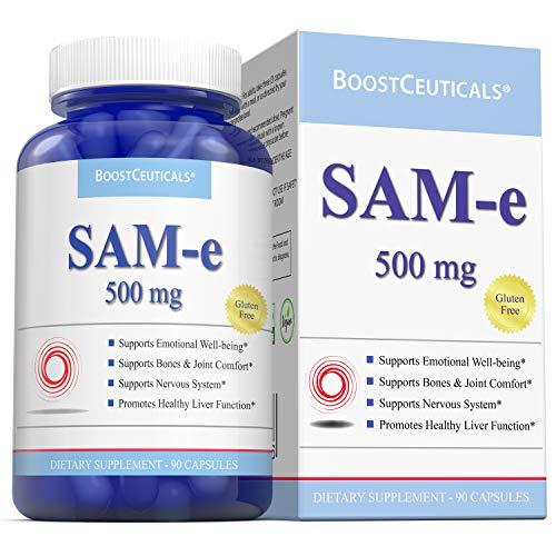 BoostCeuticals SAM e 90 1500mg Daily Dose Ideal No Additives Same Supplement - Vegan - Non GMO Gluten Free Pure Natural Sam e Supplement
