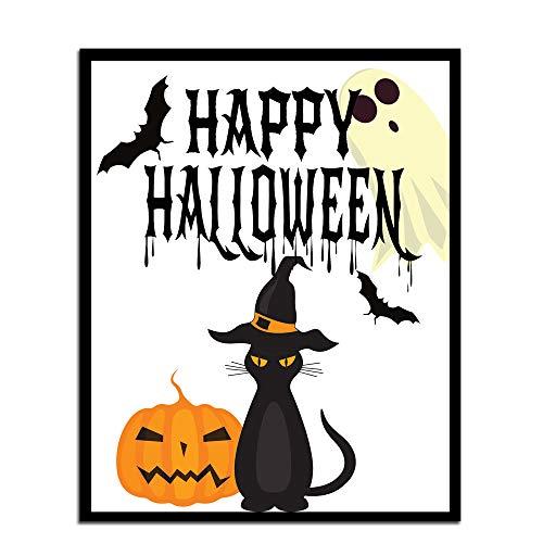 MalertaART Happy Halloween Print Halloween Printable Decor Wall Art Printable Halloween DecorHalloween Poster Black Cat Print Halloween Printable Framed Wall Art -