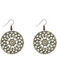 Bohemian Vintage Craved Alloy Hollow Out Lotus Dangle Earrings Women Girls
