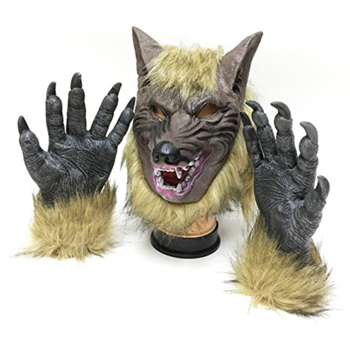 Wolf Man Mask (Werewolf Masks and Wolf Claws,Head Mask for Cosplay, Halloween, Masquerade and Party)