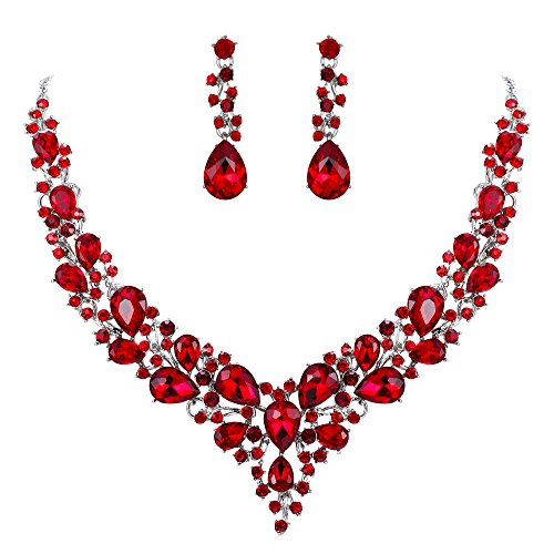 BriLove Wedding Bridal Necklace Earrings Jewelry Set for Women Austrian Crystal Teardrop Cluster Statement Necklace Dangle Earrings Set Ruby Color Silver-Tone