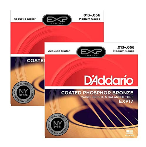 D'Addario EXP17 Coated Phosphor Bronze Medium 13-56 (2-Pack Bundle)