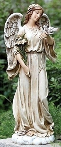 24.5'' Joseph's Studio Angel with Dove and Lily Flowers Outdoor Garden Statue by Roman