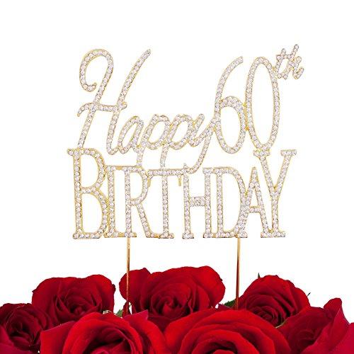 LOVENJOY - Gift Box - Happy 60th Birthday Cake Topper Rhinestone Decoration Gold (5.5-inch)