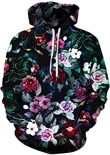 (FLYCHEN Mens Hoodies Fashion Graphic Pocket Pullover 3D Printed Hooded Sweatshirt Blooming Flowers LXL )