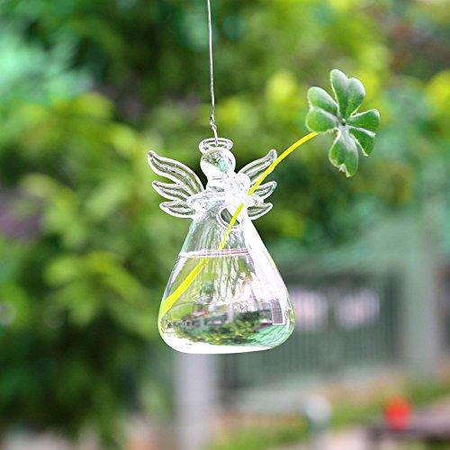 (SOLEDI Terrarium Plants Hanging Glass Angel Shape Plant Hanger Air Plant Holder Container Terrariums From Glass For Flowers Plants Home Garden Wall Decor)