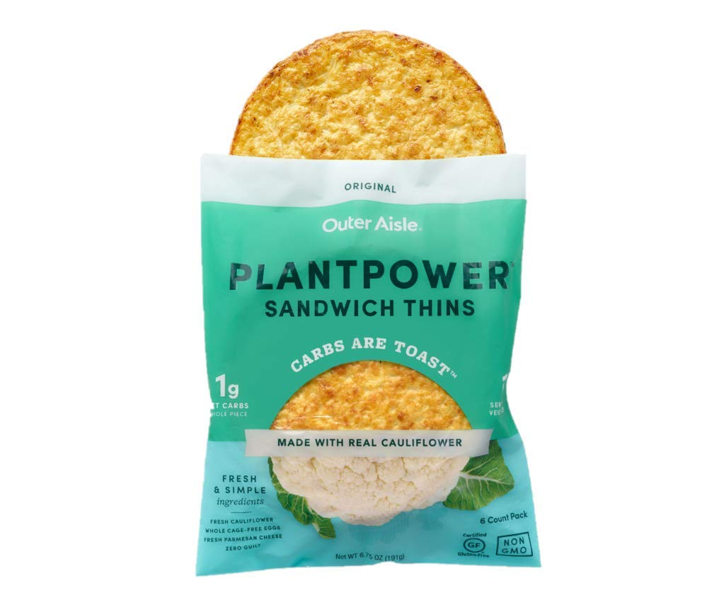 Outer Aisle Gourmet Cauliflower Sandwich Thins - Low Carb, Gluten Free, Paleo Friendly, Keto