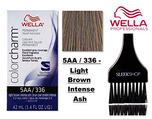 Wella COLOR CHARM PERMANENT Liquid Haircolor Dye (w/Sleek Tint Brush) Excellent Gray Coverage, Floral Fragrance, 1:2 Mix Ratio Hair Color (5AA / 336 - Light Brown Intense Ash)