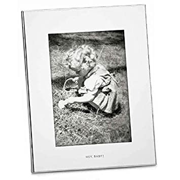 "Kate Spade New York Small World Hey Baby 5x7"" Picture Frame, Silver Plated Metal by Kate Spade New York"