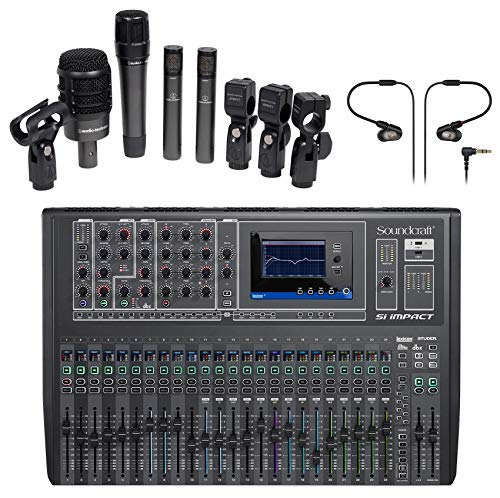 Soundcraft Si Impact DSP Digital Mixer+Audio Technica Drum Mics+in-Ear Monitors