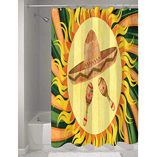 Douglas Hill Mexican Polyester Shower Curtain with Anti-peep Ethnic Sombreno Hat and Maracas in The Centre of Sun Figure Hippie Style Boho Home Made of Harmless Material W72 x L79 Inch Multicolor