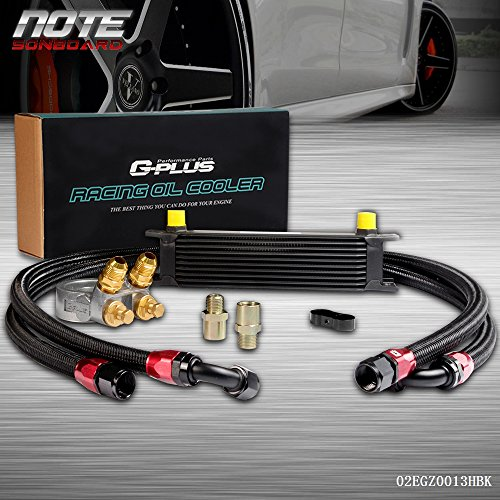 Oil Kit Cooler Racing - Gplus 10 Row Thermostat Adaptor Engine Racing Oil Cooler Kit For CAR/TRUCK