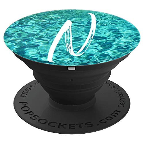 Ocean Waves Water Letter N Initial Beach Theme Monogram N - PopSockets Grip and Stand for Phones and Tablets]()
