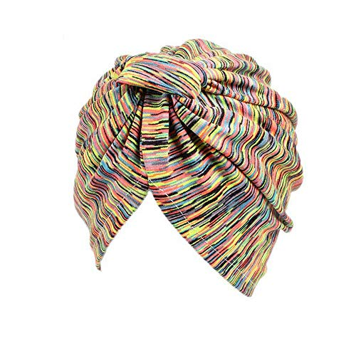 ZOMUSAR Clearance! Women Muslim Stripe Flowers Cancer Chemo Hat Turban Headbands Hair Loss Wrap Cap (C)]()