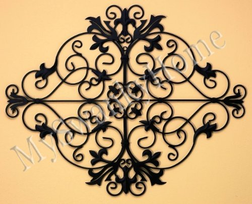 """Ornate Black 44"""" OLD WORLD IRON Wall Art Grille - Indoor or Outdoor"""