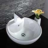 Decoraport White Round Ceramic Bathroom Kitchen Vessel Sink Porcelain Vanity Above Counter Basin Bowl (Cl-1042)