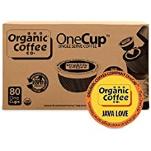 The Organic Coffee Co. OneCup, Java Love, (80 Count) Single Serve Coffee, Compatible with Keurig K-cup Brewers, USDA Organic