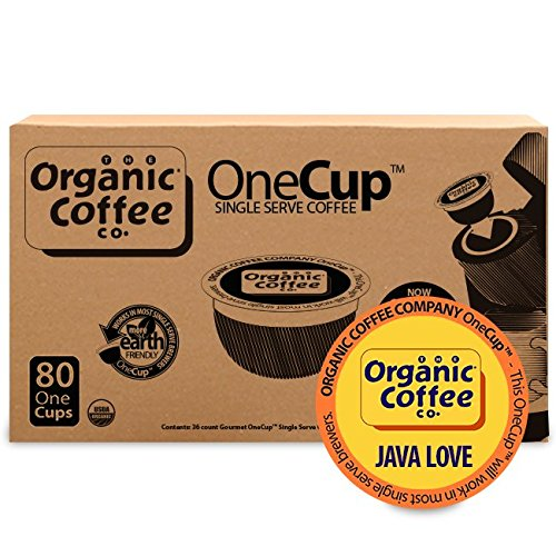 Company Single - The Organic Coffee Co. OneCup Java Love (80 Count) Single Serve Coffee Compatible with Keurig K-cup Brewers USDA Organic Single Serve Coffee Pods, Compatible with Cuisinart, Bunn Single Serve Brewers