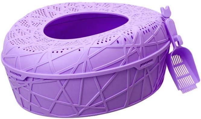 Pet Online Orificio de Fuga de grifos de Inodoro de Gato semicerrado bentonita Grande con Arena para tazón de Arena Superior, 59 × 51 × 25
