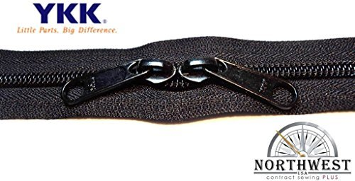 YKK #5 CN Zipper coil chain. Each yard comes with 2 sliders. (Black, 5 yards, 10 black sliders)