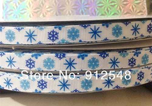 FunnyCraft 10 Yards 3/8''(9Mm) Christmas Snowflakes Snow Romance Printed Grosgrain Ribbon