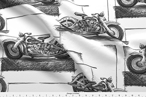 Spoonflower Motorcycles Fabric - Graphite Motorcycles - Designed by Twobloom - Fabric Printed On Fleece Fabric by The Yard