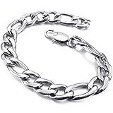 Naivo Men's Stainless Steel Bracelet Link Wrist Curb Silver Tone