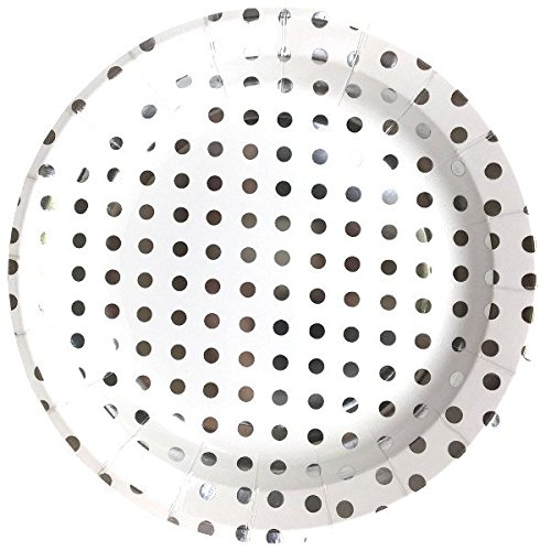 - Just Artifacts Round Paper Party Plates 9-Inch (12pcs) - Metallic Silver Polka Dot - Decorative Tableware for Birthday Parties, Baby Showers, Grad Parties, Weddings, and Life Celebrations!