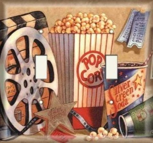 Double Light Switchplate Cover - Movie Popcorn by SnazzySwitch
