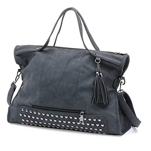 Hot Sale! Punk Motorcycle Rivet Studded Tassel Leather Women Handbags Top Handle Satchel Shoulder Tote Bag(Blue Black) by Fation Show