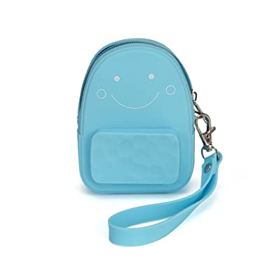Silicone Coin Purse Smiling Face Keychain Charms Mini Backpack Shape - Large Capacity