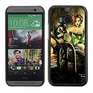Colorful Printed Hard Protective Back Case Cover Shell Skin for All New HTC One (M8) ( Bat & Poison Ivy Painting )