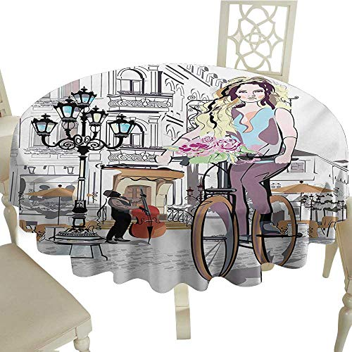 Cranekey 100% Polyester Washable Table Cloth for Circular Table 36 Inch Paris,Young Girl with Bike and Roses in a Street Old Town Musician Romantic Tour in City,Multicolor Great for,Party & More -