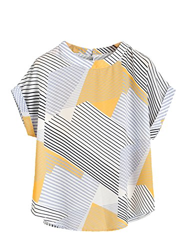SheIn Women's Print Curved Hem Cuffed Short Sleeve Blouse Top Medium - Sleeve Yellow Blouse Short